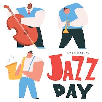 Illustrazione internazionale di concetto del fumetto di giorno di jazz con i musicisti isolati su un fondo bianco.