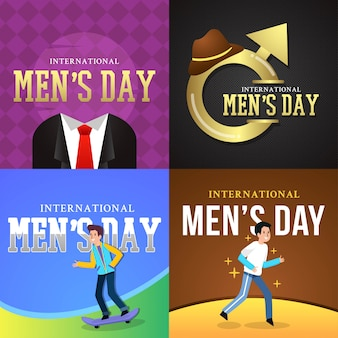 Illustrazione internazionale di vettore di giorno degli uomini