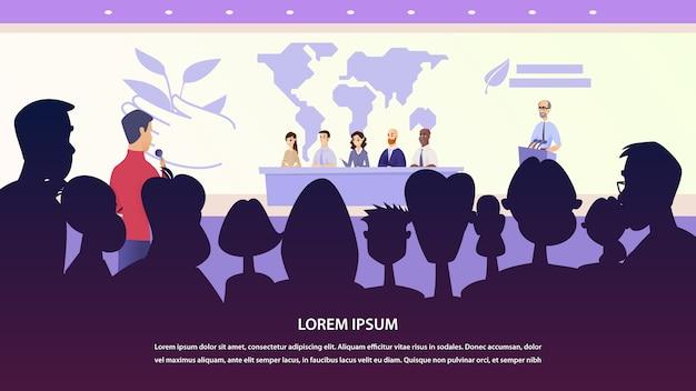 Illustrazione intervista giornalista gruppo di professori