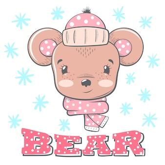 Illustrazione invernale carino bear caratteri.