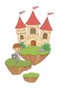 Illustrazione isolata cavaliere medievale