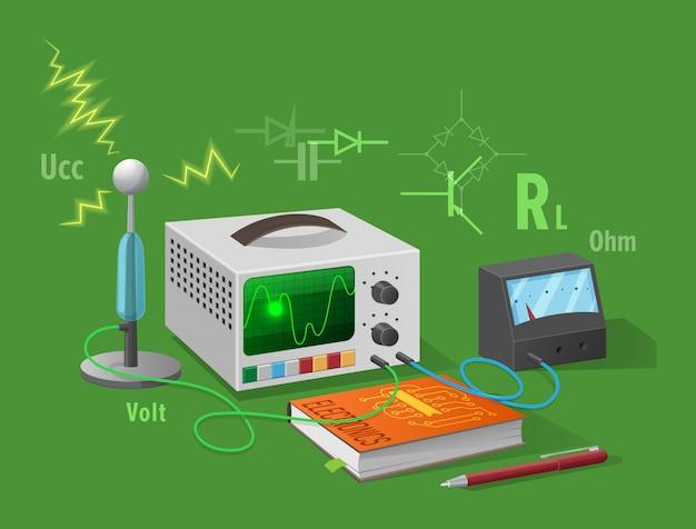 Illustrazione isolata classe di elettronica su verde