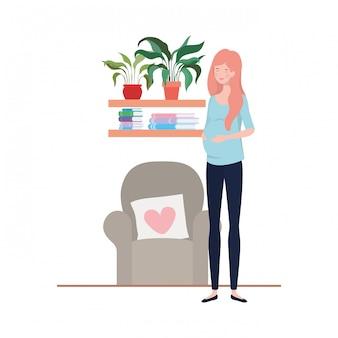 Illustrazione isolata della donna incinta