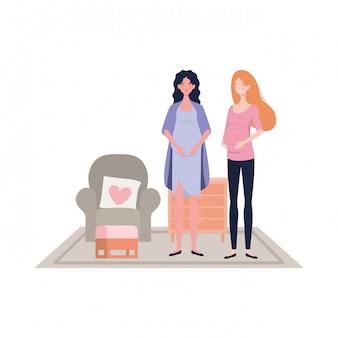 Illustrazione isolata delle donne incinte