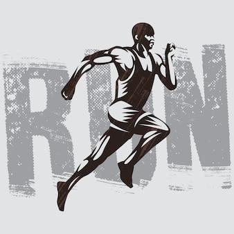 Illustrazione isolata di atletismo di logo del corridore. runner logo template.