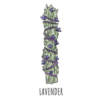 Illustrazione isolata di doodle disegnato a mano del bastone di macchia prudente. fagottino alle erbe di lavanda