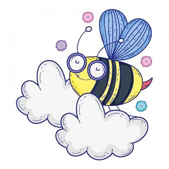 Illustrazione isolata di progettazione del fumetto di tiraggio dell'ape