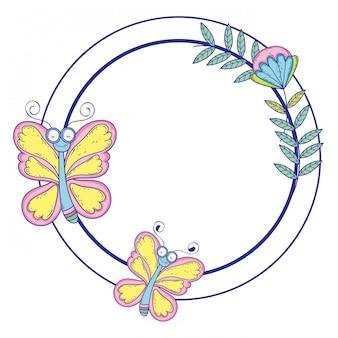 Illustrazione isolata di progettazione del fumetto di tiraggio della farfalla