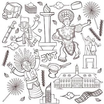 Illustrazione isolata di scarabocchi del profilo di jakarta indonesia