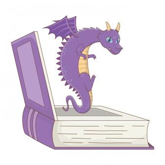 Illustrazione isolata di vettore di progettazione del fumetto del drago