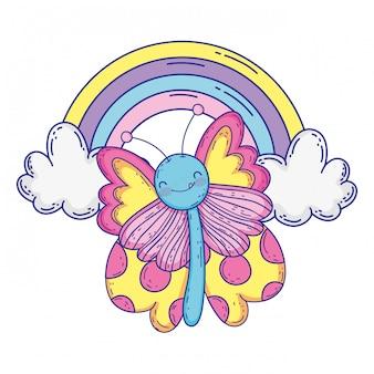 Illustrazione isolata di vettore di progettazione del fumetto di tiraggio della farfalla
