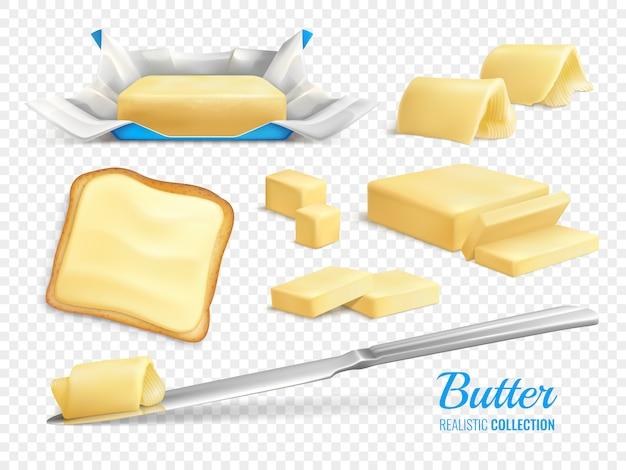 Illustrazione isolata insieme realistico delle fette e dei bastoni di burro