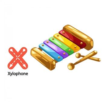 Illustrazione isolata lettera alfabeto x-xilofono