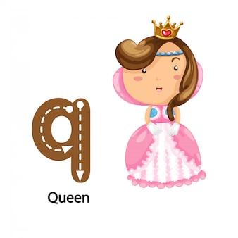 Illustrazione isolata lettera di alfabeto q-queen