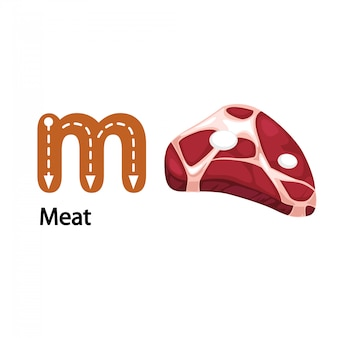 Illustrazione isolata m-meat lettera di alfabeto