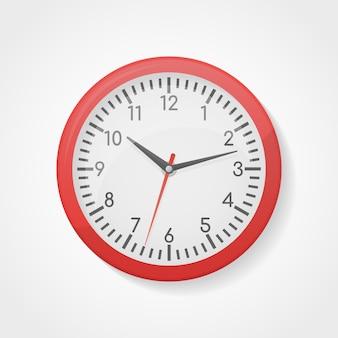 Illustrazione isolata orologio rosso dell'ufficio della parete.