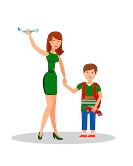 Illustrazione isolata vettore piano del figlio e della madre