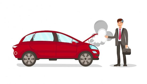 Illustrazione isolata vettore piano del vapore morto dell'automobile