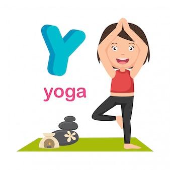 Illustrazione isolato alfabeto lettera y yoga