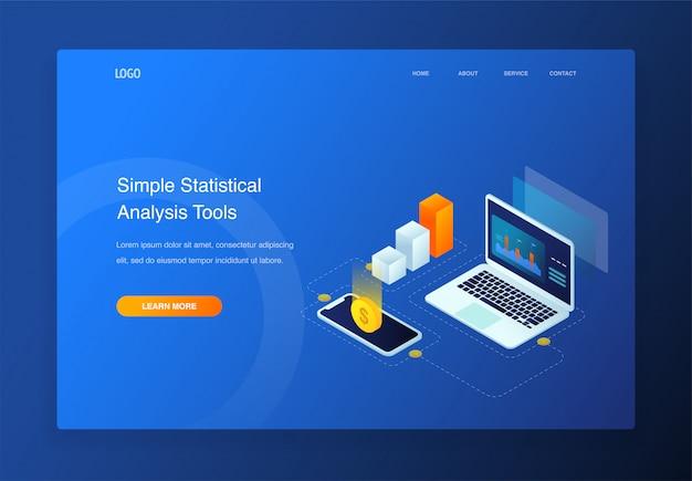 Illustrazione isometrica 3d, dati di analisi con laptop, smartphone, elementi infographic