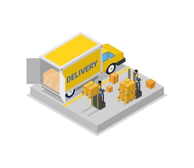 Illustrazione isometrica 3d del camion di caricamento del carrello del carrello elevatore