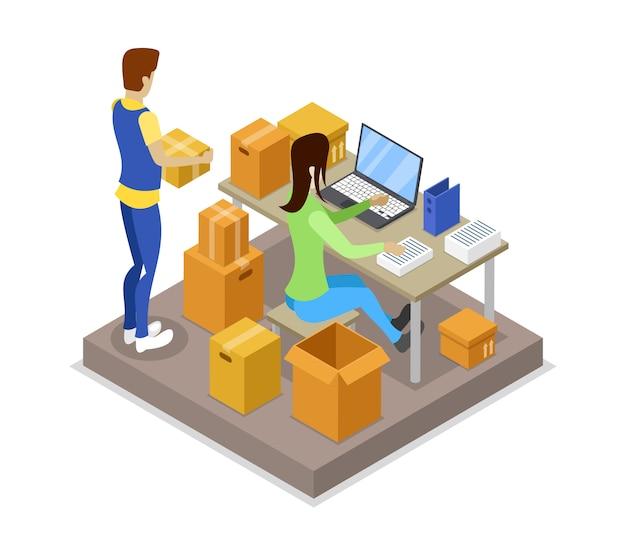 Illustrazione isometrica 3d di logistica di consegna