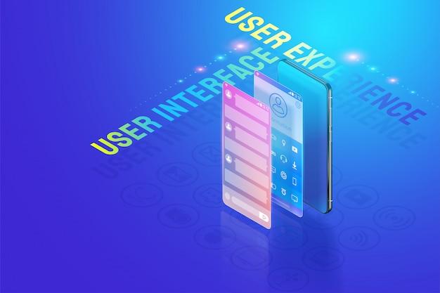 Illustrazione isometrica 3d mobile ui ux design illustrazione, creazione e progettazione dell'interfaccia utente, esperienza utente e vettore di concetto di sviluppo di applicazioni.