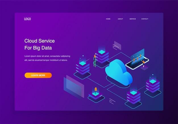 Illustrazione isometrica 3d persone che interagiscono con servizi di cloud computing, pagina di destinazione