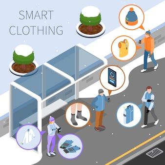 Illustrazione isometrica abbigliamento intelligente