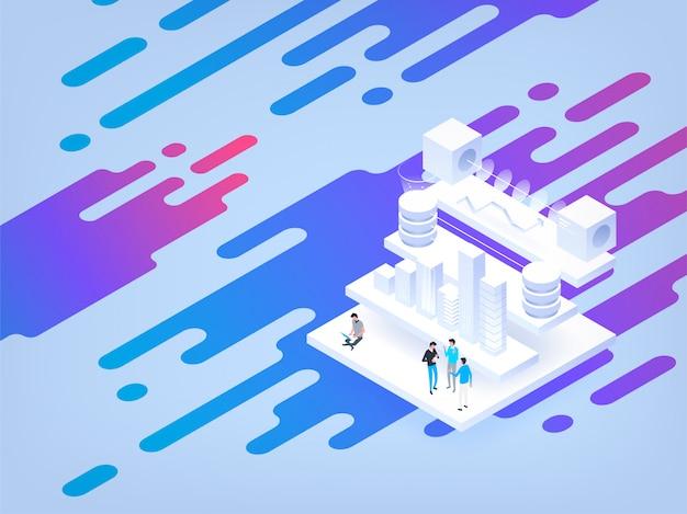 Illustrazione isometrica astratta alta tecnologia . banca dati.