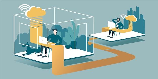 Illustrazione isometrica che spiega il principio del cloud computing e del lavoro a distanza in ufficio attraverso internet.