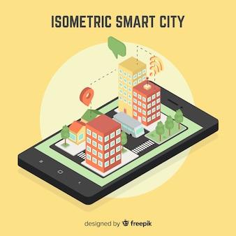 Illustrazione isometrica città intelligente
