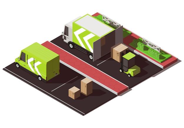 Illustrazione isometrica con camion, furgone e carrello elevatore