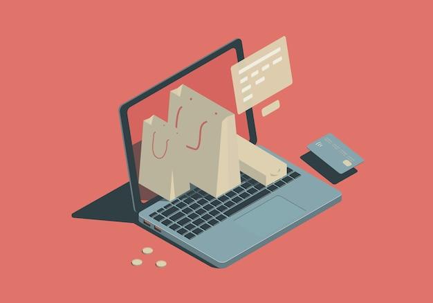 Illustrazione isometrica con laptop, borse e carta. concetto di shopping online.