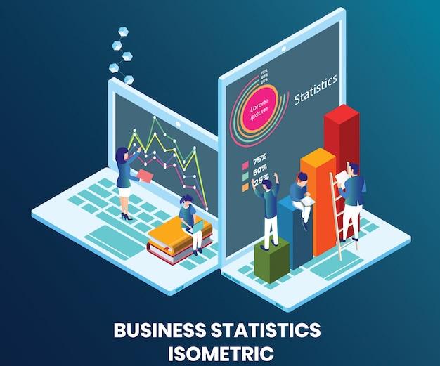 Illustrazione isometrica concetto di statistiche aziendali