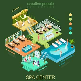 Illustrazione isometrica creativa interna di vettore di concetto del centro del salone della stazione termale.