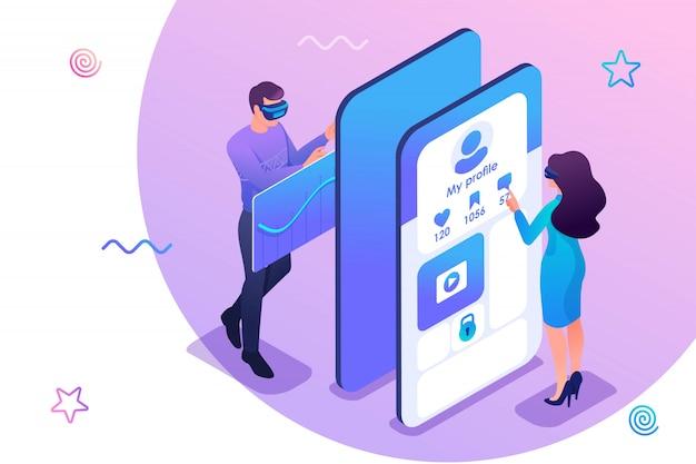 Illustrazione isometrica dei giovani che verificano un'applicazione mobile