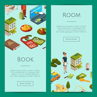 Illustrazione isometrica dei modelli dell'insegna di web delle icone dell'hotel