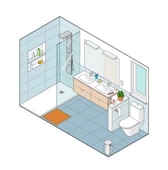 Illustrazione isometrica del bagno. vista interna disegnata a mano.