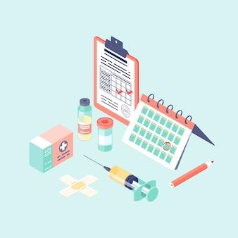 Illustrazione isometrica del calendario di vaccinazione.