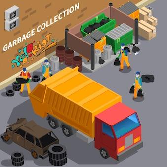 Illustrazione isometrica del camion di immondizia