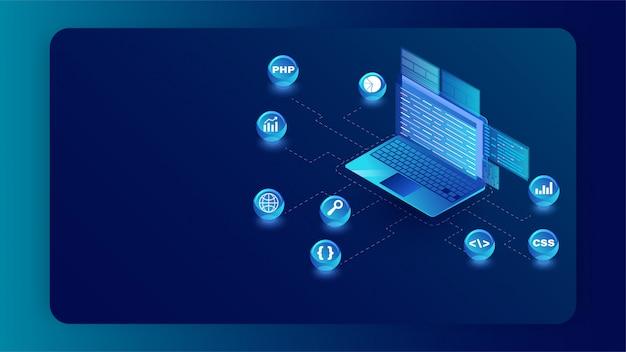 Illustrazione isometrica del computer portatile con il simbolo di linguaggi di programmazione differenti sull'insegna blu