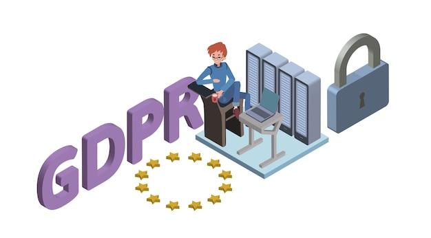 Illustrazione isometrica del concetto di gdpr. regolamento generale sulla protezione dei dati. la protezione dei dati personali. , isolato su sfondo bianco.