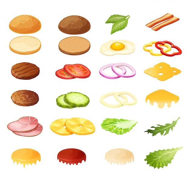 Illustrazione isometrica del costruttore del panino dell'hamburger, ingredienti del menu del fumetto 3d per l'insieme dell'icona dell'hamburger isolato su bianco