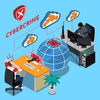 Illustrazione isometrica del crimine informatico