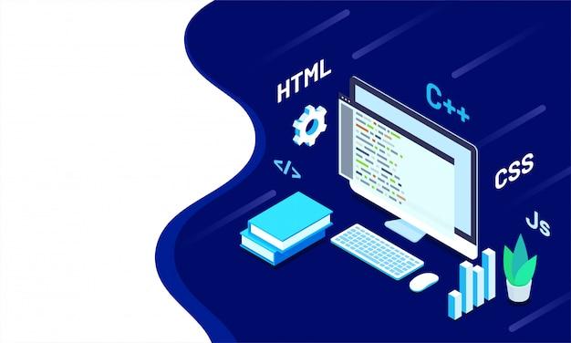 Illustrazione isometrica del desktop del programmatore.