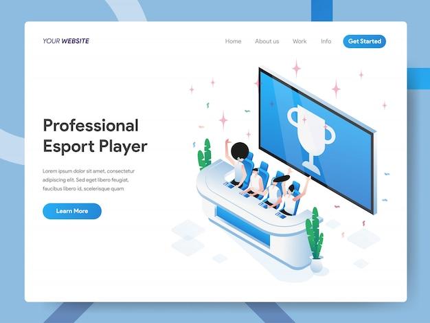 Illustrazione isometrica del giocatore professionale di esport per la pagina web