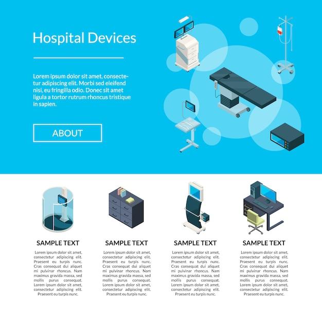 Illustrazione isometrica del modello della pagina di destinazione delle icone dell'ospedale