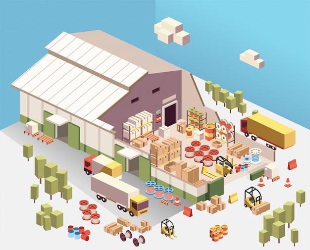 Illustrazione isometrica del ritaglio industriale del magazzino all'interno, con camion, scatola, barilotto, corda della bobina, carrello elevatore