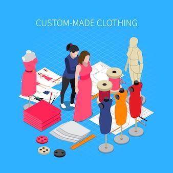 Illustrazione isometrica dell'abbigliamento su misura con i simboli del vestito